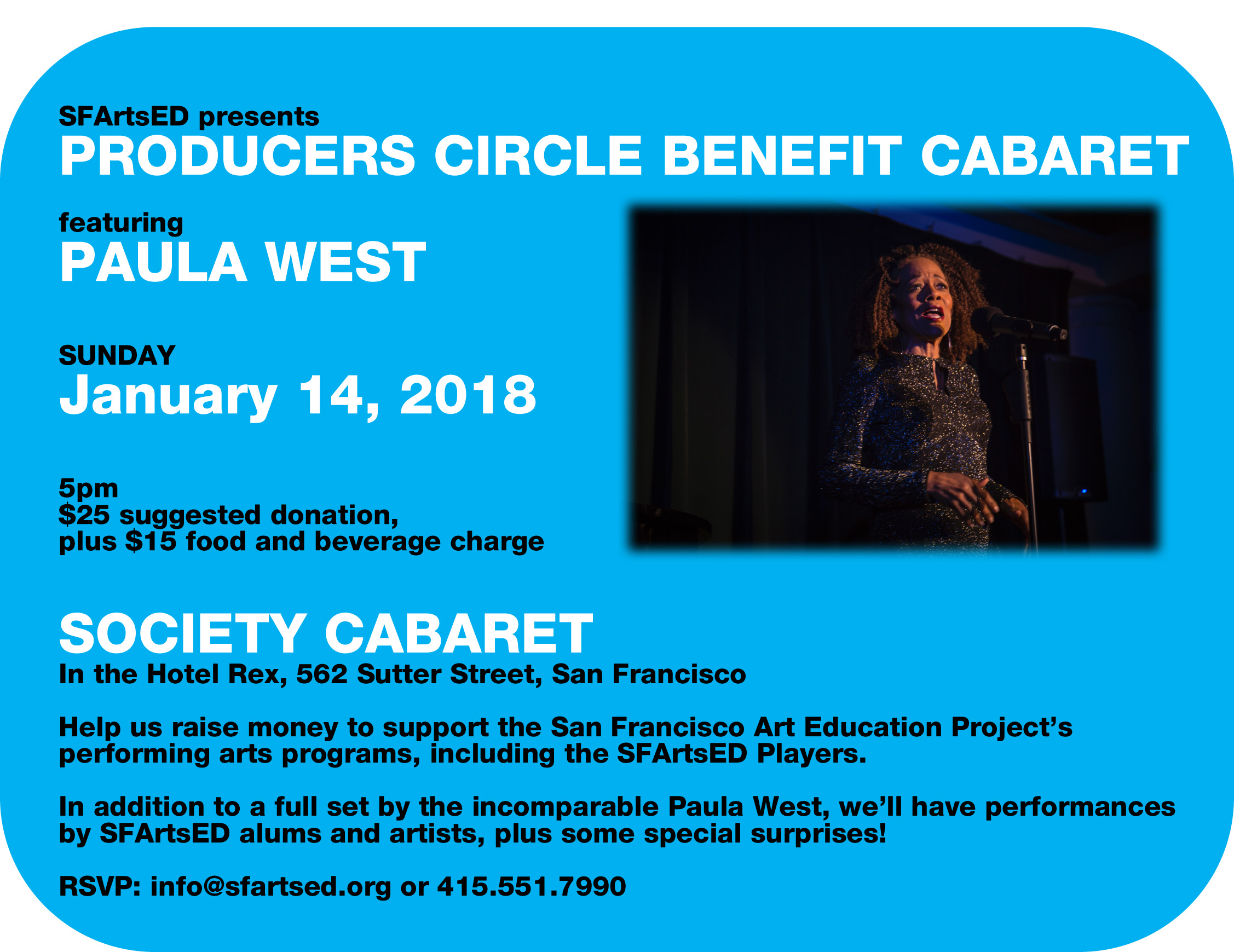 SOLD OUT! Producers Circle Benefit Cabaret featuring Paula West